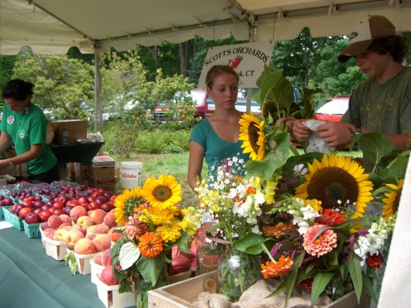 There's always a vast array of flowers, fruit and vegetables at the 'En Plein Air' market on Saturday at the Florence Griswold Museum.