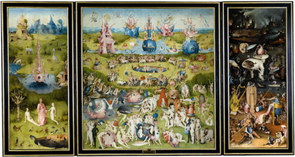 'The Garden of Earthly Delights,' the world famous triptych painted by Hieronymus Bosch between 1503-1515 and housed in the Prado Art Gallery in Madrid, Spain since 1939.