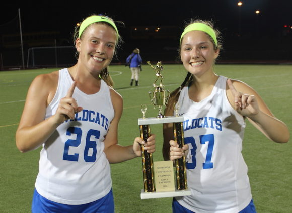 Co-captains Sloane Sweitzer and Sophia Romeo celebrate sweet victory. Photo by Lauren Romeo.