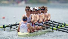 The US Men's Eight in action with Austin Hack as stroke. Photo courtesy of usrowing.com