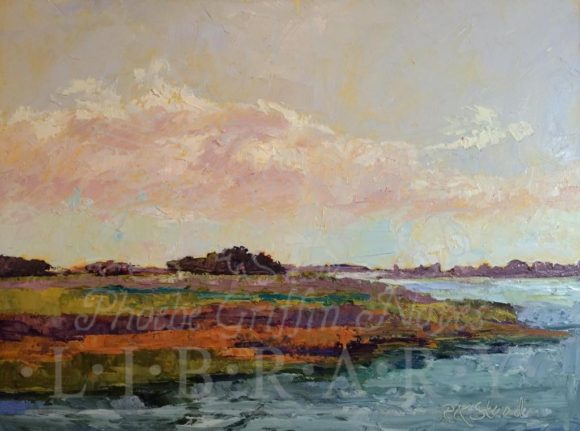 'Looking South on the Connecticut River at Old Lyme' is the signature painting of the 'Touching Water' exhibition opening Friday at the Old Lyme Library.