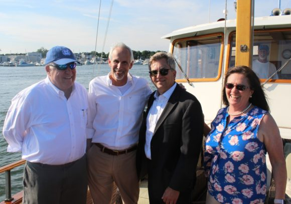 Gathered for a photo are (from left to right) CPA board member John Johnson, Essex First Selectman Norm Needleman, CPA Chairman Scott Bates and Old Lyme First Selectwoman and CPA board member Bonnie Reemsnyder.