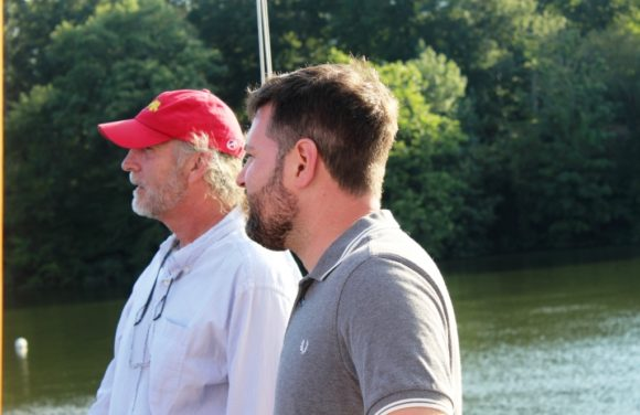 Deep River First Selectman Angus McDonald, Jr. (left) chats with RiverCOG Executive Director Sam Gold aboard the 'Victoria.'