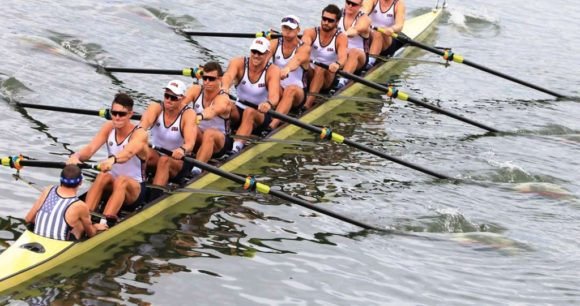 The US Men's Eight in action yesterday morning. A determined Austin Hack is the first rower (the stroke) in the boat facing the camera. Photo courtesy of worldrowing.com