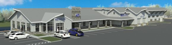 Designer's rendering of front aerial view of new Reynold's Subaru facility. Completion is scheduled for July 2017.