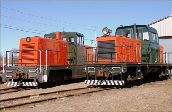 "Either of these Valley Railroad diesel locomotives pictured above, ""0900"" or ""0901"", is used to power the Essex Clipper Dinner Train."