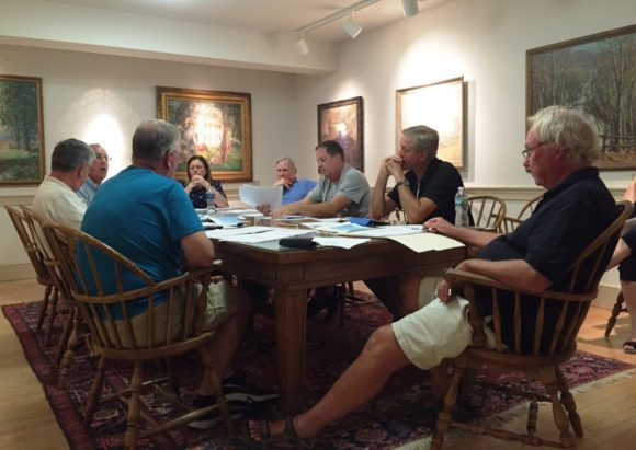 Members of the Boathouse/Hains Park Improvements Committee gathered in Old Lyme Town Hall's mezzanine conference room for last Monday's meeting.