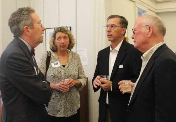 Everyone was there: Florence Griswold Museum Director Jeff Andersen chats with the Poiriers.