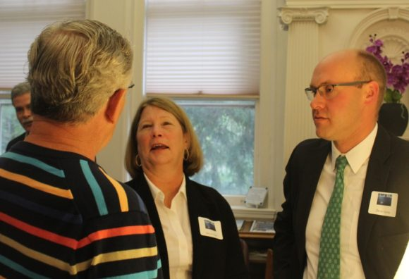 Selectwoman Mary Jo Nosal and State Representative Devin Carney (R-23rd) share a moment with a guest at the event.