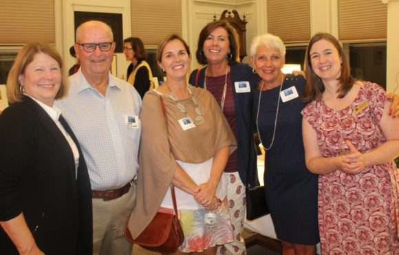 Friends and volunteers were all on hand to celebrate mary's 16-year tenure as OL-PGN Library Director. From left to right, Mary Jo Nosal, Doug Wilkinson, Julie O'Brien, Marisa Hartmann, Lucy Wilkinson and incoming OL-PGN Director Katie Heffnan.