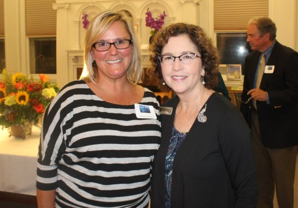 Mary Fiorelli stands with former OL-PGN staff member Stephanie Romano, who recently was appointed the Director of Chester Library.