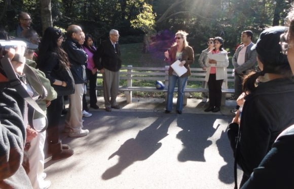Last year, participants gathered together to hear a speaker prior to starting their walk
