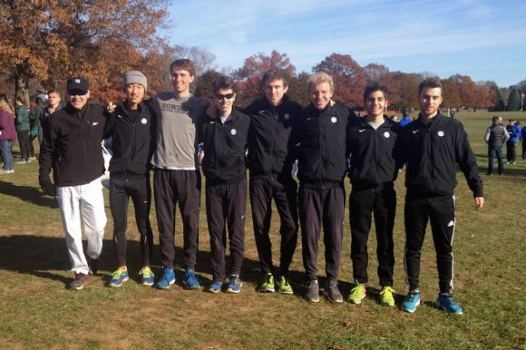 This photo shows the Bowdoin Mens Cross-country team. Nick Walker is fourth from the right.
