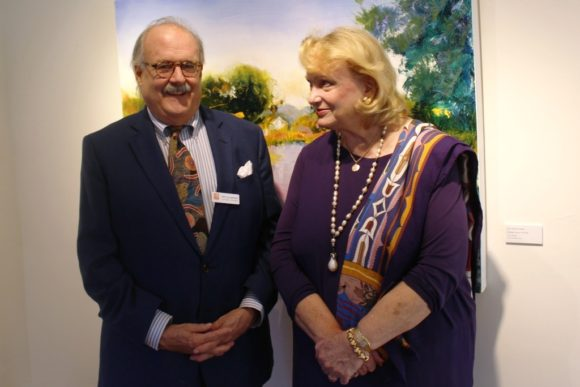Vice President of development Fritz Jellinghaus with the artist.