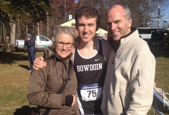 Nick stands with his parents, Cary and David Walker of Lyme, after a recent race.